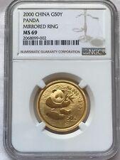 2000 China Gold Panda 1/2 oz 50 Yuan Rare Mirrored Ring NGC MS 69