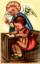 "Vintage Netherlands Postcard Studying Young Girl & Angel 3.5"" x 5.5"""