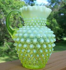 Fenton Art Glass Topaz Opalescent Hobnail 5.5 Inch  Syrup or Milk Pitcher