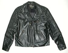 Men's Black Leather SAN DIEGO LEATHER FACTORY Motorcycle Biker Jacket, Sz 44