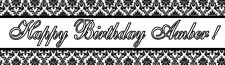 4ft Personalized Name Damask Pattern Paper Bridal Shower Banner Party Banner