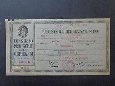 BANCONOTA BUONO DI PRELEVAMENTO CUNEO DRONERO 24 2 1944 NUMISMATICA SUBALPINA