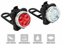 USB Rechargeable Cycling Bicycle Bike 3 LED Head Front Rear Tail Clip Light HEA