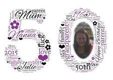 Personalizado Cumpleaños Foto Word Art Print - 30, 40, 50, 60, 70, 80