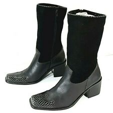 """Naturalizer Leather Boots Black 3"""" Heel and 12"""" Height Snake Skin Tips Zip Side"""