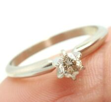 0.25ct Genuine Champagne Diamond Solitaire 14KT 14K White Solid Gold Ring