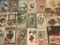 ~Lot of 25 Vintage Greetings Postcards with Flowers~Scenes~Antique--b511