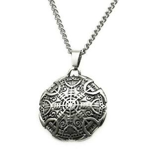 Viking Necklace Helm of Awe Shield Pendant Stainless Steel Mens Jewellery