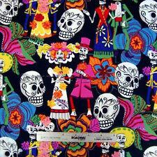 Alexander Henry LOS NOVIOS Black Day Of the Dead Fabric by Yard Sugar Skulls
