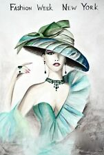 """Vogue Emerald Green Hat Girl Glam Poster Fashion Couture Illustration 5""""X7"""""""