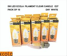 PACK OF 10 X 5W LED Filament Clear Candle Light Bulb E27  ES  DAY WHITE
