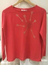 Chilli Pink Cocoa Cashmere Studded Heart Jumper - Size Small