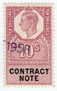 (I.B) George VI Revenue : Contract Note 10/-