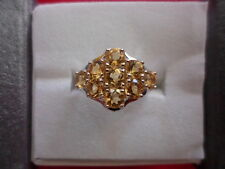 Brazilian Citrine Cluster Ring in 925 Sterling Silver-Size 7-2.34 Carats