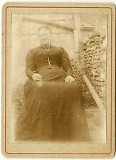 Victorian photograph - LADY SEATED IN GARDEN - COSTUME