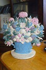 Cute Vintage Cast Iron Painted Flower Basket Doorstop -Colorful