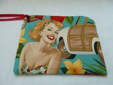 HANDMADE ZIPPED COIN PURSE TROPICAL SCENE LADY & CAR 15 X 12 CM