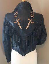 Vintage 80s Womens Rockabilly Snake Skin,Leather Biker Jacket Fringe Lined Sz 10