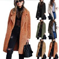 Womens Fluffy Fleece Long Trench Coat Jacket Faux Fur Borg Outwear Warm Overcoat