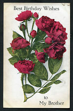 C1920s Illustrated Birthday Card: Read Roses: To My Brother