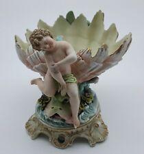 Stunning Antique/Vintage Porcelain Cherub Putti On Seashell W/ Sea Creature Mint