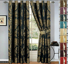 Luxury Curtains Fully Lined Stylish Jacquard Eyelet With Tiebacks Free P&P Deals