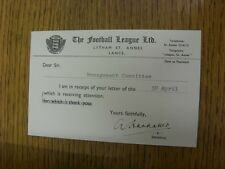 01/05/1963 Official Receipt Postcard: Football League, replying to Blackpool. Bo