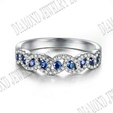Tension Pave Setting Sapphires & Natural SI/H Diamonds Band Ring Sterling Silver