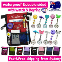 Nurse Pouch Waist Belt Wallet Extra Pocket Quick Pick Bag wt Chrome Nurse Watch