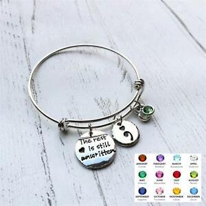 Birthstone Semicolon Bangle Mental Health Awareness Suicide Support Bracelet