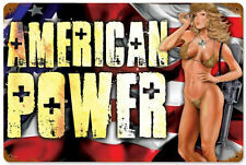 """American Power"" Military Pin-Up Girl Metal Sign - Past Time Signs LETH025"