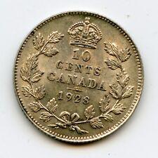 Genuine 1928 Canada 10 Cents | AU Details - Original
