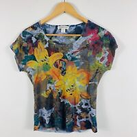 Coldwater Creek Womens Shirt Top Size XS (AU 6-8) Floral Multicoloured Made USA