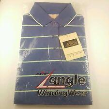 Vtg Bowling Polo Shirt AMF The Angle Winning Wear Mens Sz Small Sm Blue Striped