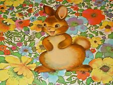 "Vtg Easter Dennison Cardboard Decoration Die Cut Bunny Rabbit Cute 7"" Rare #F"