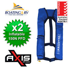 2 x Blue Axis Life Jackets | Manual Inflatable Offshore 150N Quality Life Vests