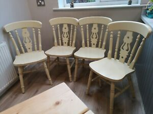 4 Farmhouse Dining Chairs shabby chic solid wood