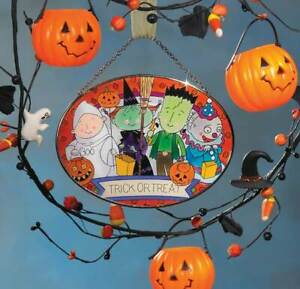 Joan Baker Hand Painted Halloween Art Glass Suncatcher MO280-Trick or Treat Kids