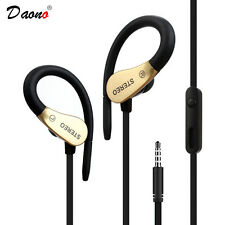 OVER EAR CLIP HEADPHONE HOOK SPORTS GYM JOGGING RUNNING EARPHONES WITH MIC GOLD