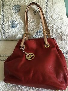 Michael Kors Red Tote Grab TT Handbag  (Handbag Only) Footed Bottom w/Dust Bag