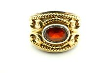 Sterling Silver And 14k Yellow Gold Oval Garnet Band Ring Size 5.25