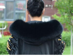 Real Fox Fur Collar For A Hood Down jacket and Parka's Cap Dedicated Black White