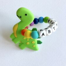 Silicone Teething Ring| Personalised|Teething Toy|Baby Shower|Baby Teether|Dino|
