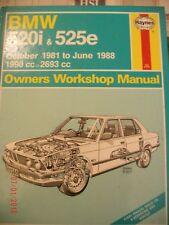 BMW 520i and 525e 1981-88 Owner's Workshop Manual HAYNES BOOK