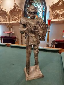 "Tin Metal Medieval Knight in Armor w/Shield 26"""