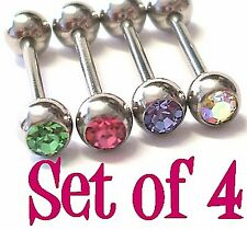4 Jewelled Tongue Bars Studs Rings Bolt 316L Surgical Steel Green Pink Purple AB