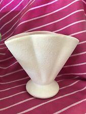 Raynham Pottery vase glazed pink ceramic inside & white matt outside