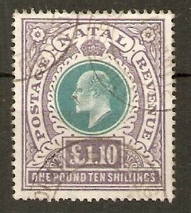 NATAL SG143 1902 £1/10/= GREEN & VIOLET USED