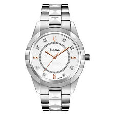 Bulova Women's Diamond Markers Quartz Ceramic Center Links Bracelet Watch 98P135