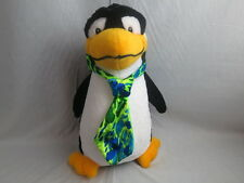 BIG CLASSIC TOY CO PENGUIN WEARING GREEN YELLOW BLUE NECKTIE 2007 PLUSH TOY